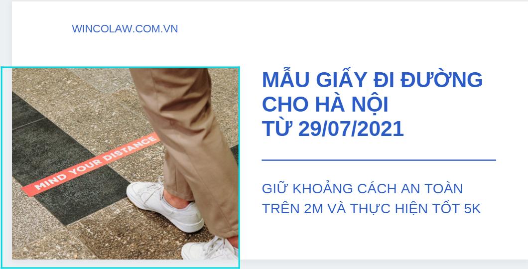 Mẫu giấy đi đường của Hà Nội từ 29/07/2021